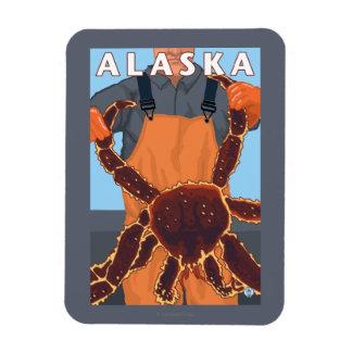 King Crab and Fisherman Vintage Travel Poster Rectangular Photo Magnet