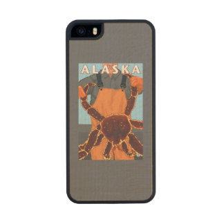 King Crab and Fisherman Vintage Travel Poster Carved® Maple iPhone 5 Slim Case