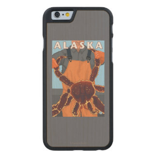 King Crab and Fisherman Vintage Travel Poster Carved® Maple iPhone 6 Slim Case