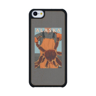 King Crab and Fisherman Vintage Travel Poster Carved® Maple iPhone 5C Case