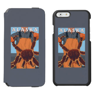 King Crab and Fisherman Vintage Travel Poster Incipio Watson™ iPhone 6 Wallet Case