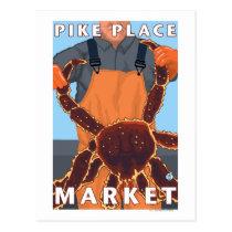 King Crab Fisherman - Pike Place Market, Seattle Postcard