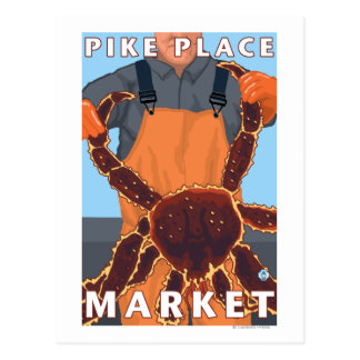 King Crab Fisherman - Pike Place Market, Seattle Postcard