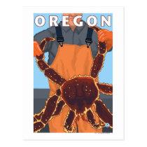 King Crab Fisherman- Vintage Travel Poster Postcard