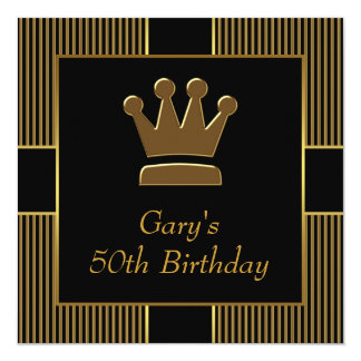 King Crown Mans Black Gold Birthday Party Personalized Invites