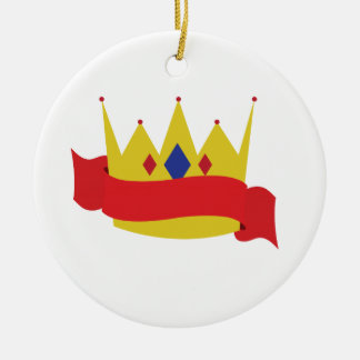 King Crown Ribbon Double-Sided Ceramic Round Christmas Ornament