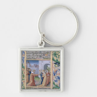 King David coveting Bathsheba Silver-Colored Square Keychain