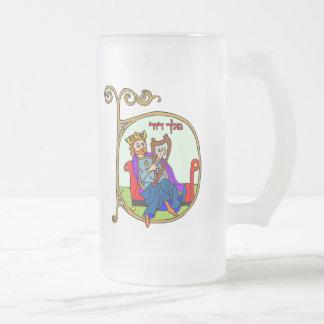 King David 16 Oz Frosted Glass Beer Mug