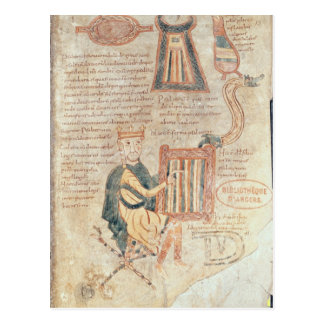 King David playing a psaltery from a psalter Postcard