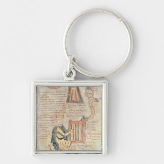 King David playing a psaltery from a psalter Silver-Colored Square Keychain