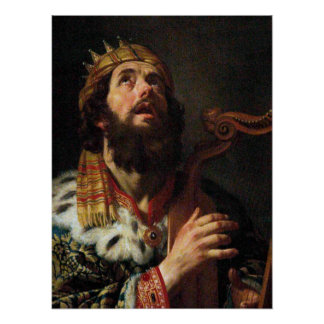 'King David Playing the Harp' Poster