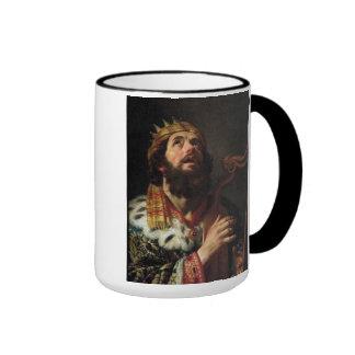 'King David Playing the Harp' Ringer Mug
