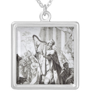 King David Playing the Lyre Silver Plated Necklace