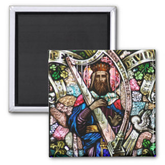 King David Stained Glass Art Magnet