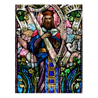 King David Stained Glass Art Postcard