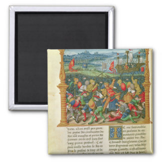 King Edward III Waging War at the Battle of 2 Inch Square Magnet