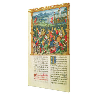 King Edward III Waging War at the Battle of Stretched Canvas Print