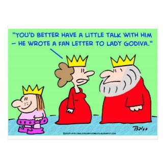 KING FAN LETTER LADY GODIVA POST CARD