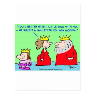 KING FAN LETTER LADY GODIVA POSTCARD