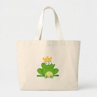 King Frog Frogs Crown Green Cute Cartoon Animal Jumbo Tote Bag