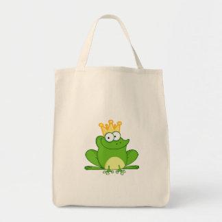King Frog Frogs Crown Green Cute Cartoon Animal Grocery Tote Bag