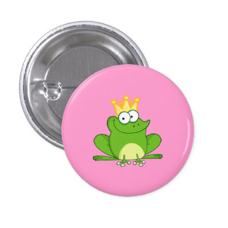 King Frog Frogs Crown Green Cute Cartoon Animal Button