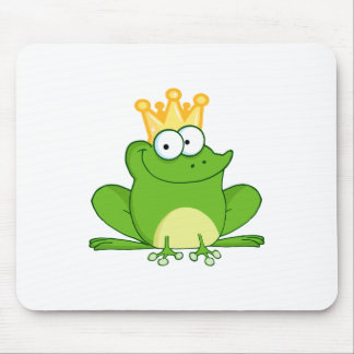 King Frog Frogs Crown Green Cute Cartoon Animal Mouse Pad