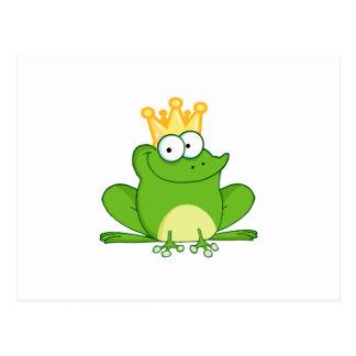 King Frog Frogs Crown Green Cute Cartoon Animal Postcard