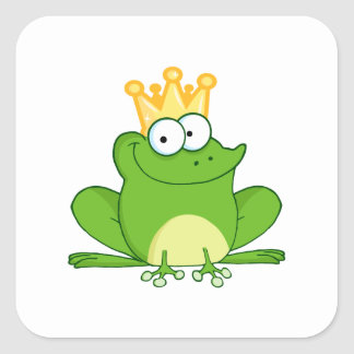 King Frog Frogs Crown Green Cute Cartoon Animal Square Sticker