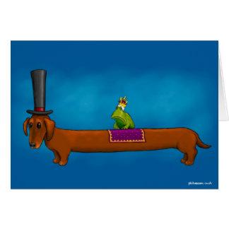 'King Frog on a Sausage Dog' Card