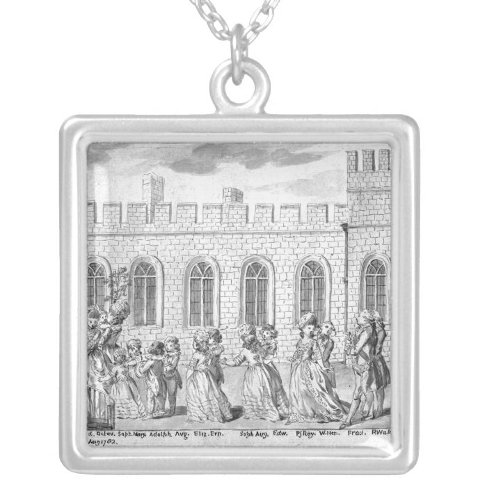 King George III and Queen Charlotte Silver Plated Necklace