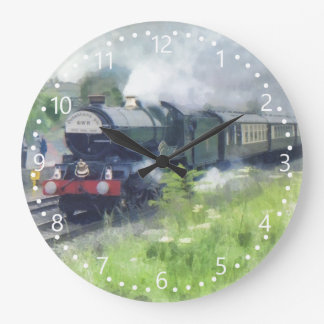 King George Steam Train white numbered dial Large Clock