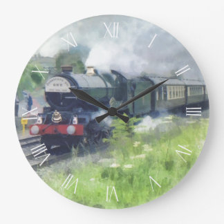 King George Steam Train white roman dial Large Clock