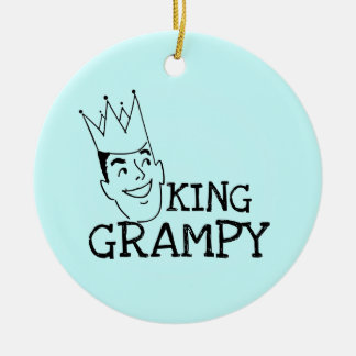 King Grampy Tshirts and Gifts Double-Sided Ceramic Round Christmas Ornament