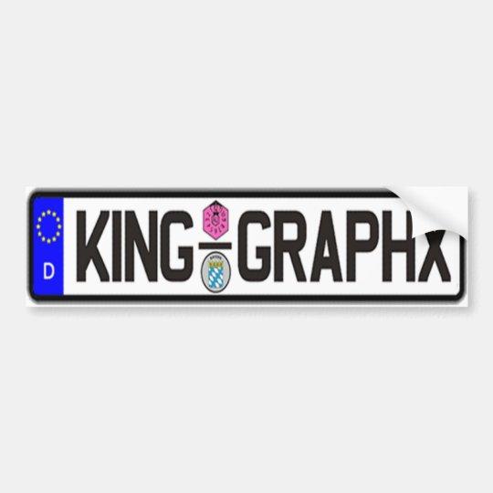 King Graphx Euro Plate Bumper Sticker