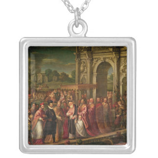 King Henri III  of France visiting Venice Square Pendant Necklace