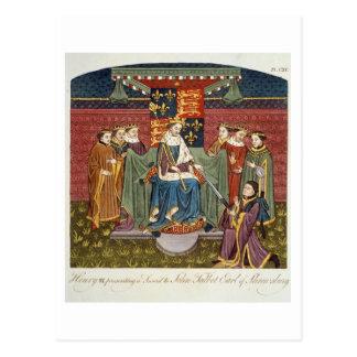 King Henry VI (1421-71) presenting a sword to John Postcard