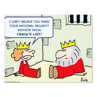 "king hired advisor craig's list 4.25"" x 5.5"" invitation card"
