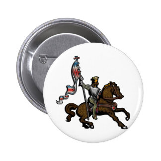 King holding red white and blue banner on Horse Button
