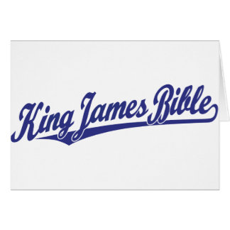 King James Bible Script Logo in blue Card