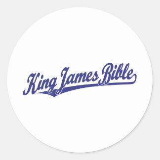 King James Bible Script Logo in blue Classic Round Sticker