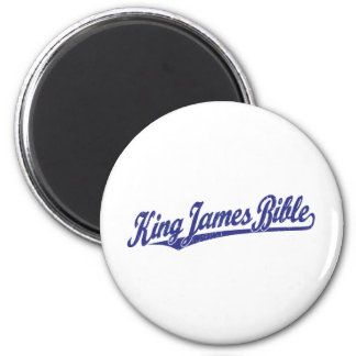 King James Bible Script Logo in blue distressed 2 Inch Round Magnet