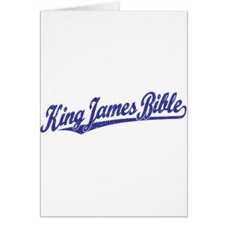 King James Bible Script Logo in blue distressed Card