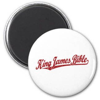 King James Bible Script Logo in red distressed 2 Inch Round Magnet