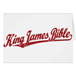 King James Bible Script Logo in red distressed Card