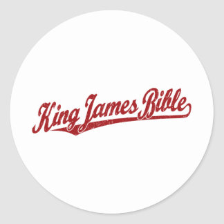 King James Bible Script Logo in red distressed Classic Round Sticker