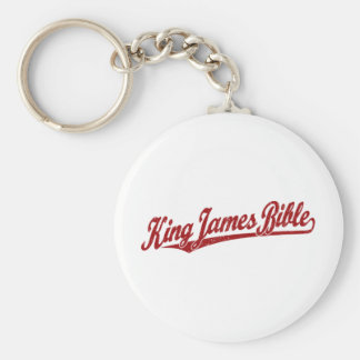 King James Bible Script Logo in red distressed Keychain