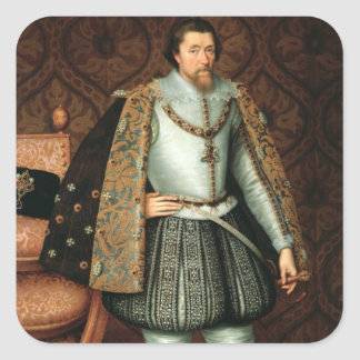 King James I of England (1566-1625) (oil on canvas Square Sticker