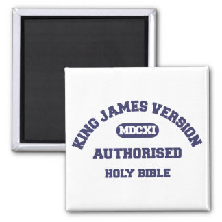 King James Version Authorised Holy Bible in blue 2 Inch Square Magnet