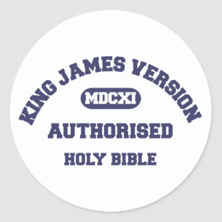King James Version Authorised Holy Bible in blue Classic Round Sticker